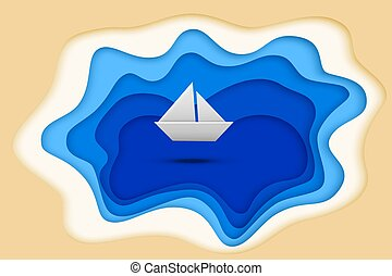 Blue paper cut lake and paper ship isolated on white background. Vector illustration.