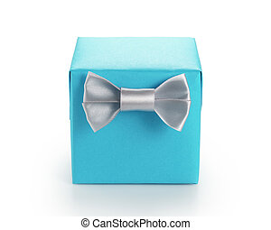 blue paper giftbox with silver simple ribbon bow isolated