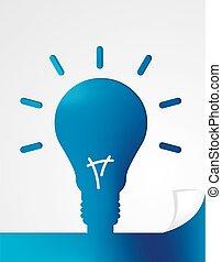 Blue paper in shape of light bulb