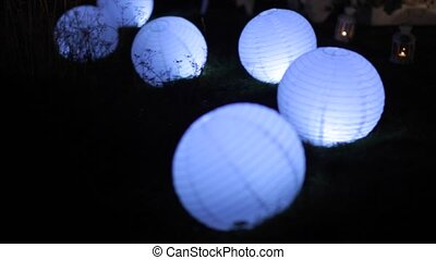 Blue Paper Lantern at night