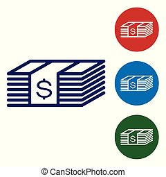 Blue Paper money american dollars cash icon isolated on white background. Money banknotes stack with dollar icon. Bill currency. Set color icon in circle buttons. Vector Illustration