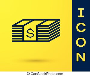 Blue Paper money american dollars cash icon isolated on yellow background. Money banknotes stack with dollar icon. Bill currency. Vector Illustration