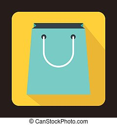 Blue paper shopping bag icon, flat style
