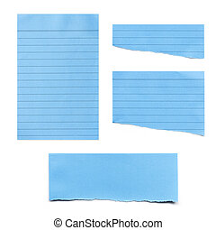 Blue Paper Tears Collection isolated on White