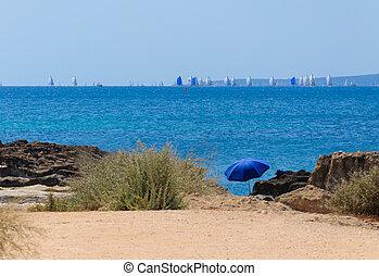 Blue parasol and regatta