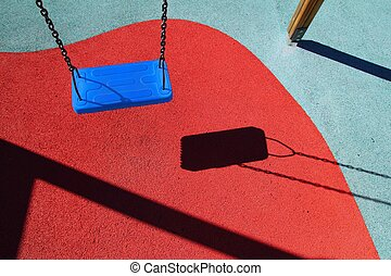 blue park swing or red floor children playground with ...
