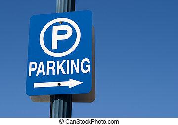 Blue Parking Sign - Blue parking sign against a blue sky.