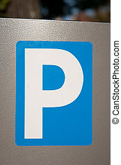 Blue Parking Sign on Silver Background