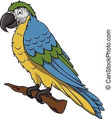 Blue parrot cartoon