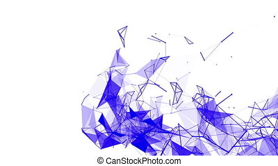 blue particles are moving slowly against a white background. abstract. 3d rendering