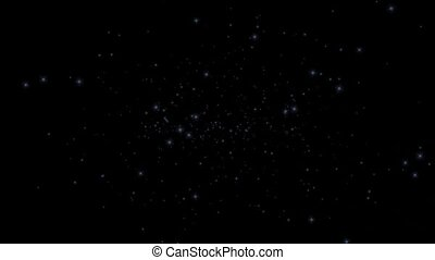 blue particles flying in universe space.