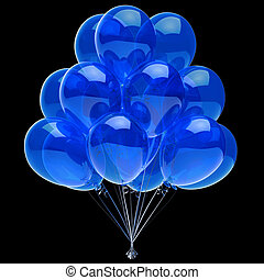 Blue party balloons celebrate decoration on black background