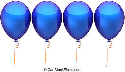 Blue party balloons in a row