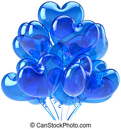 Blue party balloons translucent