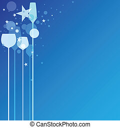 Blue Party Glasses - A funky illustration of various alcohol...