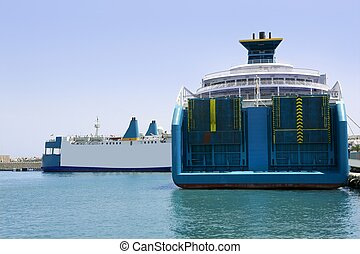 Blue passenger and cargo boats on Ibiza