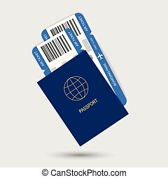 Blue passport and air tickets. Realistic design.