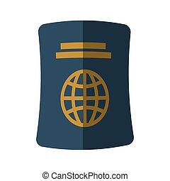 blue passport identification tourist shadow