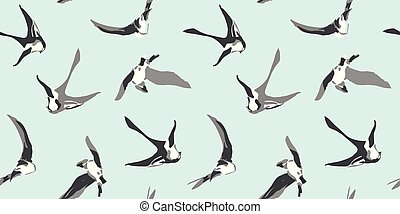 Blue pattern with swallow. - Blue vector repeat pattern with...