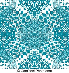 Blue patterned tiles in the style of sentangle. Seamless pattern. vector illustration.