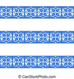 Blue patterns on a white background.