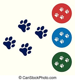 Blue Paw print icon isolated on white background. Dog or cat paw print. Animal track. Set color icon in circle buttons. Vector Illustration