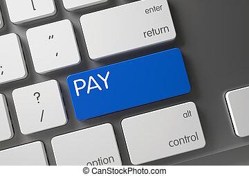 Blue Pay Key on Keyboard. 3d.