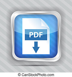 blue pdf download icon on a striped background