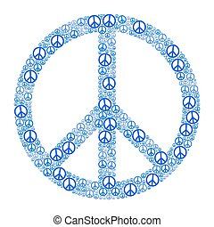 Blue Peace Sign formed by many small peace symbols....