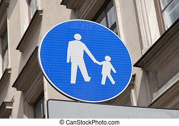 Blue Pedestrian Sign