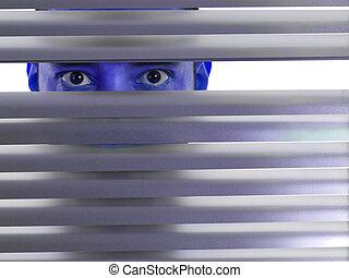 Blue peeping Tom