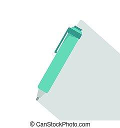 Blue pen icon, flat style