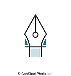Blue pen tool icon line