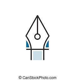 Blue pen tool icon line