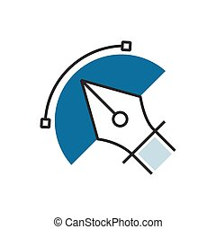 Blue pen tool icon semicircle design