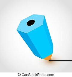 Blue pencil icon on white background.