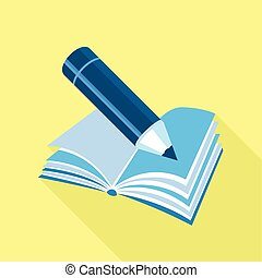 Blue pencil on book icon, flat style