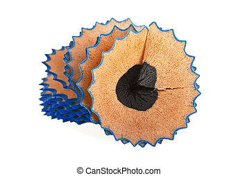 Blue pencil shavings isolated on a white background