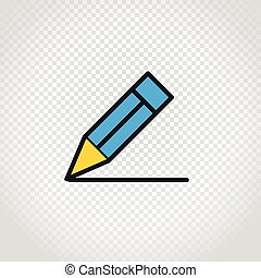 Blue pencil vector icon on transparent background
