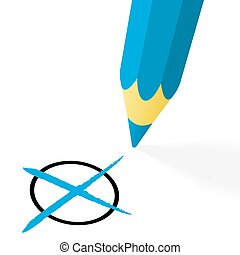 blue pencil with cross