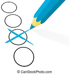 blue pencil with cross - illustration of pencil colored blue...