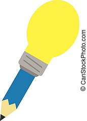 Blue pencil with light bulb tip