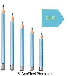 Blue pencils on a white background