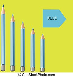 Blue pencils on a yellow background