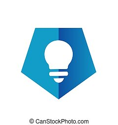 Blue Pentagon Light Bulb Icon or Logo