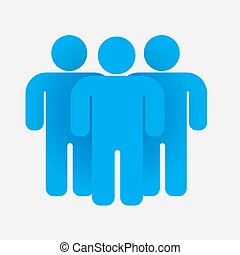 Blue people group. Teamwork concept. Business icon. Vector