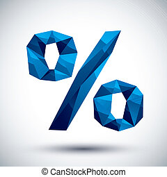 Blue percent geometric icon made in 3d modern style, best for us