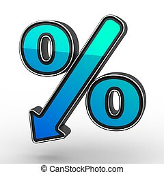 Blue Percent Sign Denoting a Decrease