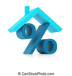 Blue percent sign under roof (isolated)