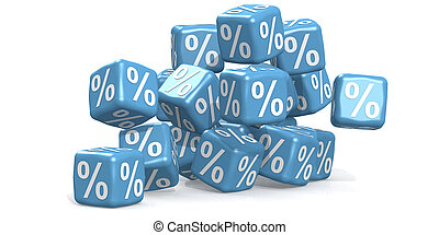 Blue percentage cubes isolated on white background